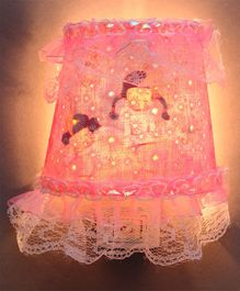 LED Night Lamp With Floral Printed Fabric - Pink White