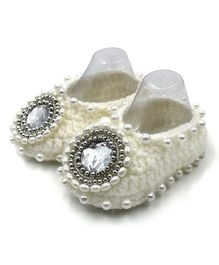 Magic Needles Pearls & Stone Embellished Booties - Cream
