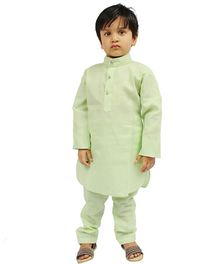 Buckled Up Full Sleeves Solid High Neck Kurta With Pyjama - Green