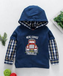 Babyhug Full Sleeves Knit Woven Hooded T-Shirt With Graphic Print - Blue