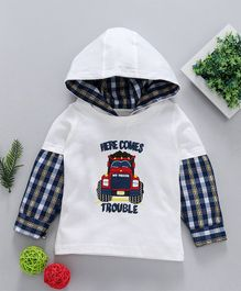 Babyhug Full Sleeves Knit Woven Hooded T-Shirt With Graphic Print - Off White