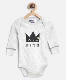 Eimoie I Am A Kind Of Hipster Print Full Sleeves Onesie - White & Grey