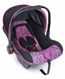 Baby Car Seat Cum Carry Cot Leopard Print - Pink Black