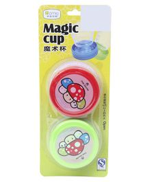 Magic Cups Cartoon Print Pack of 2 - Green & Red