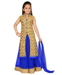 Aarika Embroidery Kurta & Lehenga With Dupatta Set - Blue