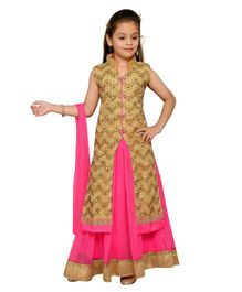 Aarika Embroidery Kurta & Lehenga With Dupatta Set - Pink