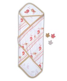 Beebop Cotton Hooded Receiving Blanket Bird Design - White Pink