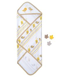 Beebop Cotton Hooded Receiving Blanket Bird Design - White Yellow