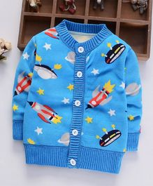 Pre Order - Awabox Rocket Print Cardigan - Blue
