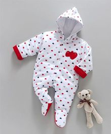 Child World Full Sleeves Footed Winter Wear Romper Hearts Print - White & Red