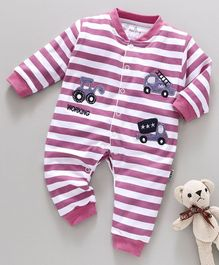 Child World Full Sleeves Striped Romper Vehicle Patch - Pink