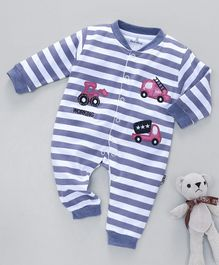 Child World Full Sleeves Striped Romper Vehicle Patch - Purple