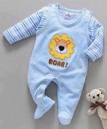 Child World Sleeveless Romper With Striped Tee Lion Patch - Blue
