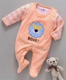 Child World Sleeveless Romper With Striped Tee Lion Patch - Peach
