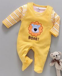 Child World Sleeveless Romper With Striped Tee Lion Patch - Yellow