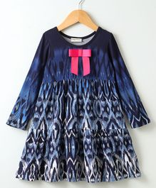 Crayonflakes Full Sleeves Ombre Printed Dress - Navy