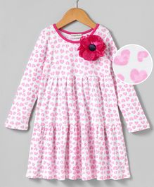 Crayonflakes Full Sleeves Hearts Print Frill Dress - Pink