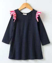 Crayonflakes Solid Full Sleeves Dress - Navy