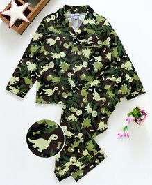 Crayonflakes Dinosaur Print Full Sleeves Night Suit - Green