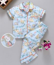 Crayonflakes Hawain Print Half Sleeves Night Suit - Light Blue