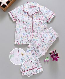 Crayonflakes Garden Print Half Sleeves Night Suit - White