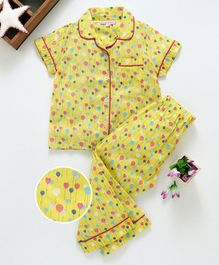 Crayonflakes Balloon Print Half Sleeves Night Suit - Yellow