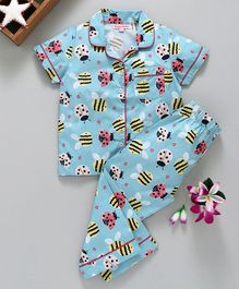 Crayonflakes Bee Print Half Sleeves Night Suit - Blue