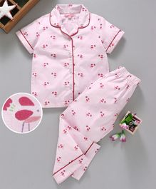 Crayonflakes Birds Print Half Sleeves Night Suit - Light Pink