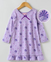 Crayonflakes All Over Print Full Sleeves Night Dress - Purple