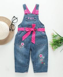 Baby Pep Tiny Flowers Printed Sleeveless Dungaree - Blue