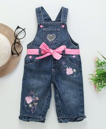 Baby Pep Butterfly Patch Sleeveless Dungaree - Blue