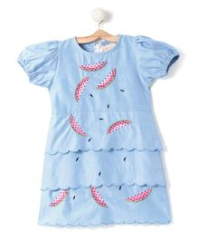 Fairies Forever Puff Sleeves Printed Cotton Dress - Blue