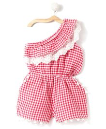 Fairies Forever One Side Shoulder Checkered Jumpsuit with Lace Work - Red & White