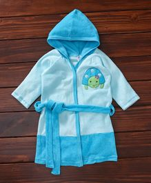 Pink Rabbit Hooded Bath Robe Tortoise Patch - Blue