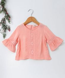 Beebay Bell Sleeves Top With Lace Detail - Peach