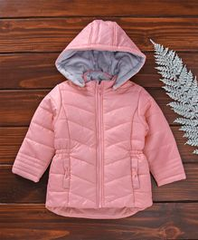 Beebay Full Sleeves Hooded Quilted Jacket - Pink