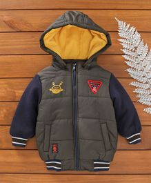 Beebay Full Sleeves Hooded Quilted Jacket Mission Space Patch - Green & Navy Blue