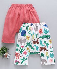 Earth Conscious Organic Cotton Diaper Leggings Animal Pack of 2 - Peach & White