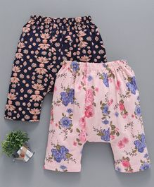Earth Conscious Organic Cotton Diaper Leggings Floral Print Pack of 2 - Pink & Black
