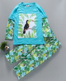 Earth Conscious Full Sleeves Night Suit Tropical Print - Blue & Green