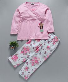 Earth Conscious Full Sleeves Night Suit Girl Patch - Pink