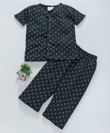 Earth Conscious Half Sleeves Organic Cotton Night Suit Small Flowers Print - Dark Navy Blue