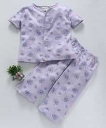 Earth Conscious Half Sleeves Organic Cotton Night Suit Floral Print - Purple