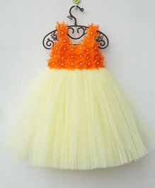 Flower Girl Flower Applique Net Dress - Orange