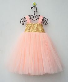 Flower Girl Sequin Work Sleeveless Net Dress - Peach
