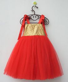 Flower Girl Sequin Work Sleeveless Net Dress - Red