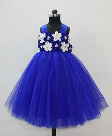 Flower Girl Pearls & Flower Embellished Netted Dress - Royal Blue