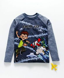 Eteenz Full Sleeves Tee Ben 10 Print - Teal Blue