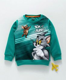 Eteenz Full Sleeves Tee Tom & Jerry Print - Sea Green