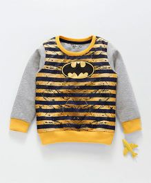 Eteenz Full Sleeves Winter Wear Striped Tee Batman Logo Print - Yellow Grey